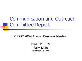 Communication and Outreach Committee Report