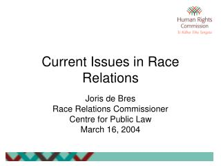 Current Issues in Race Relations