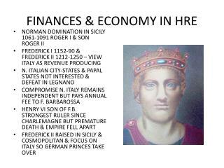 FINANCES & ECONOMY IN HRE