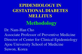 EPIDEMIOLOGY IN GESTATIONAL DIABETES MELLITUS