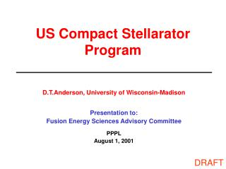 US Compact Stellarator Program