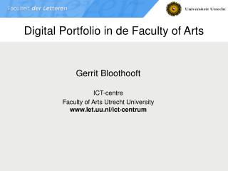 Digital Portfolio in de Faculty of Arts