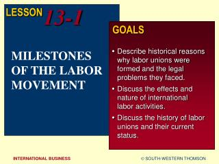 MILESTONES OF THE LABOR MOVEMENT
