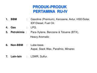 PRODUK-PRODUK  PERTAMINA  RU -IV