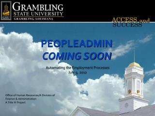 PeopleAdmin Coming soon