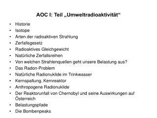 "AOC I: Teil ""Umweltradioaktivität"""