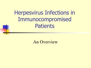Herpesvirus Infections in Immunocompromised Patients