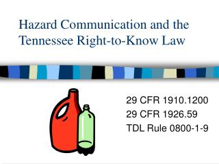 Hazard Communication and the Tennessee Right-to-Know Law