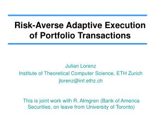 Risk-Averse Adaptive Execution of Portfolio Transactions