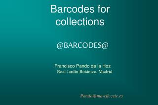 Barcodes for collections