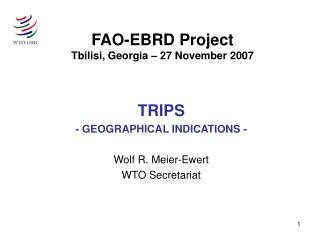 FAO-EBRD Project Tbilisi, Georgia   27 November 2007