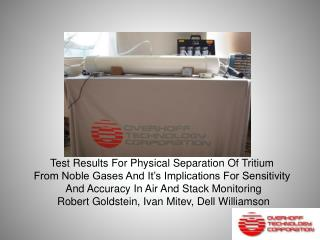 Test Results For Physical Separation Of Tritium