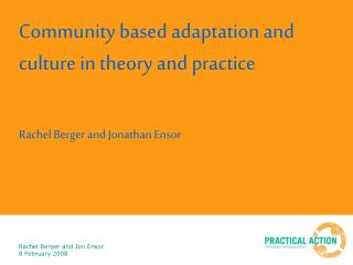 Community based adaptation and culture in theory and practice