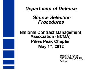 Department of Defense  Source Selection Procedures