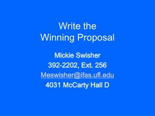 Write the Winning Proposal