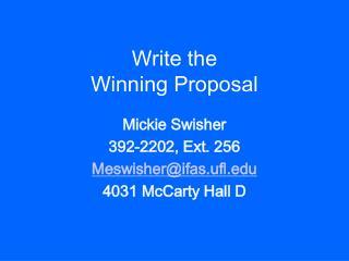 Write the Winning Proposal