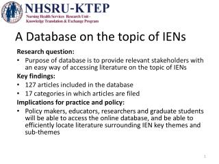 A Database on the topic of IENs
