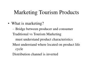 Marketing Tourism Products