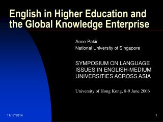 English in Higher Education and the Global Knowledge Enterprise
