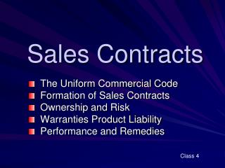 Sales Contracts