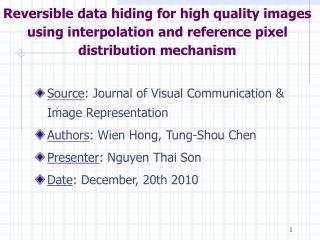 Source : Journal of Visual Communication & Image Representation