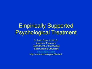 Empirically Supported Psychological Treatment