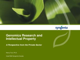 Genomics Research and Intellectual Property  A Perspective from the Private Sector