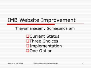 IMB Website Improvement