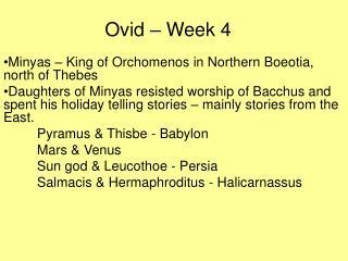 Ovid – Week 4