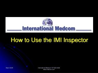How to Use the IMI Inspector