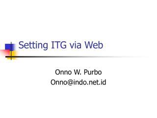 Setting ITG via Web