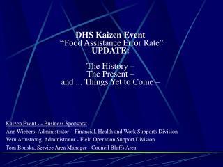 Kaizen Event - - Business Sponsors: