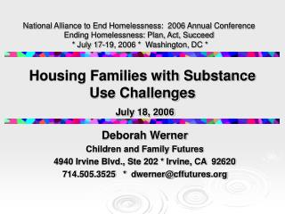 Housing Families with Substance Use Challenges