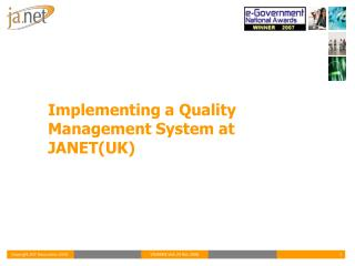 Implementing a Quality Management System at JANET(UK)