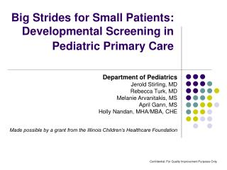 Big Strides for Small Patients:  Developmental Screening in Pediatric Primary Care