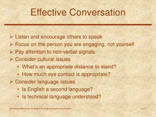Effective Conversation