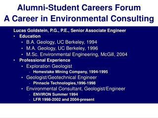 Alumni-Student Careers Forum  A Career in Environmental Consulting