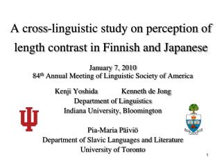A cross-linguistic study on perception of length contrast in Finnish and Japanese