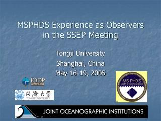 MSPHDS Experience as Observers in the SSEP Meeting