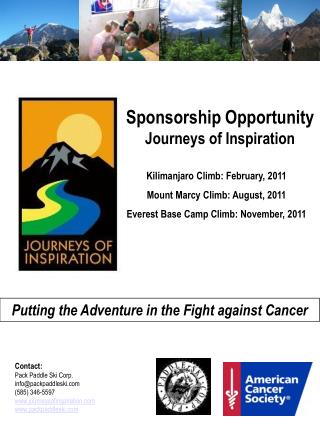 Sponsorship Opportunity Journeys of Inspiration