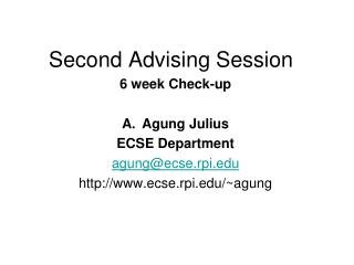 Second Advising Session