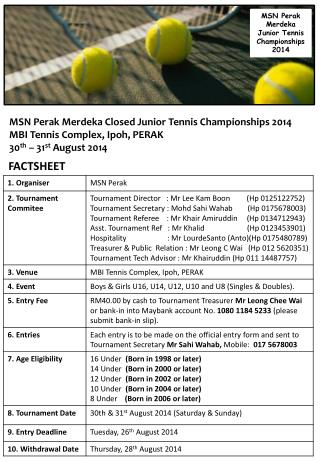 MSN Perak  Merdeka  Closed Junior  Tennis  Championships 2014 MBI Tennis Complex, Ipoh, PERAK