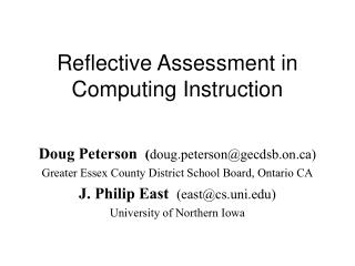 Reflective Assessment in Computing Instruction
