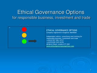 Ethical Governance Options   for responsible business, investment and trade
