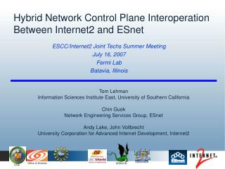 Hybrid Network Control Plane Interoperation Between Internet2 and ESnet