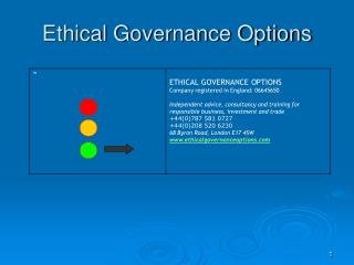 Ethical Governance Options