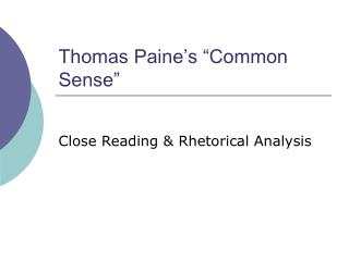 Thomas Paine�s �Common Sense�
