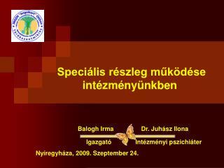 Speciális részleg működése  intézményünkben Balogh Irma                Dr. Juhász Ilona