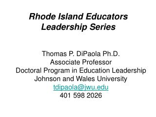 Rhode Island Educators Leadership Series
