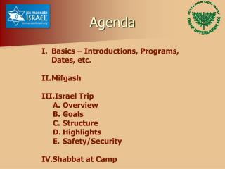 Basics – Introductions, Programs, Dates, etc. Mifgash Israel Trip Overview Goals Structure